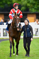 Winner of The Shadwell Stud Racing Excellence Apprentice Handicap Fortune and Glory ridden by William Carver and trained by Joseph Tuite  is led into the Winners enclosure during the Bathwick Tyres & EBF Race Day at Salisbury Racecourse on 6th September 2018