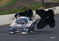 Jul. 19, 2014; Morrison, CO, USA; NHRA funny car driver Alexis DeJoria during qualifying for the Mile High Nationals at Bandimere Speedway. Mandatory Credit: Mark J. Rebilas-