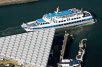 aerial photograph of the Golden Gate transit commuter ferry at Larkspur Landing, Larkspur, Marin County, California