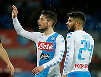 Lorenzo Insigne  and Dries Mertens  during the SSC Napoli vs Atalanta, serie A  soccer match at  San Paolo Stadium in Naples , Italy 25 February 2017 Photo: Ciro De Luca ciro de luca<br />   +39 02 43998577 sales@silverhubmedia.it