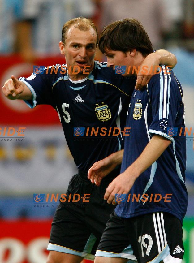 Gelsenkirchen 16/6/2006 World Cup 2006.Argentina Serbia & Montenegro 6-0.Photo Andrea Staccioli Insidefoto.Esteban CAmbiasso and Lionel Messi Argentina