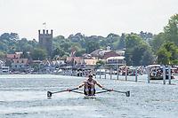"Henley on Thames, United Kingdom, 3rd July 2018, Saturday,  ""Henley Royal Regatta"",  Heat of ""The Diamond Sculls""  ""Mahe DRYSDALE, NZL M1X"" Henley Reach, River Thames, Thames Valley, England, UK."
