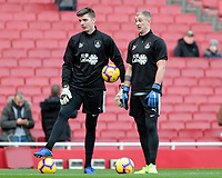 Burnley's Joe Hart (right) chats with Nick Pope during the pre-match warm-up <br /> <br /> Photographer David Shipman/CameraSport<br /> <br /> The Premier League - Arsenal v Burnley - Saturday 22nd December 2018 - The Emirates - London<br /> <br /> World Copyright © 2018 CameraSport. All rights reserved. 43 Linden Ave. Countesthorpe. Leicester. England. LE8 5PG - Tel: +44 (0) 116 277 4147 - admin@camerasport.com - www.camerasport.com