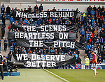 22.04.2018 Rangers v Hearts: Rangers fans with a statement at half time
