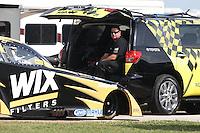 Apr. 26, 2013; Baytown, TX, USA: NHRA crew member for funny car driver Tony Pedregon during qualifying for the Spring Nationals at Royal Purple Raceway. Mandatory Credit: Mark J. Rebilas-