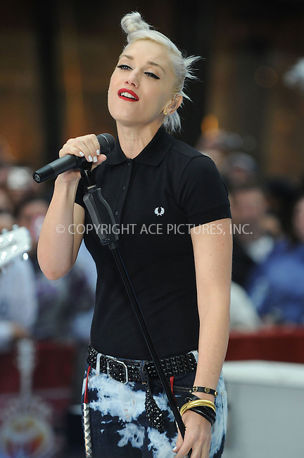 WWW.ACEPIXS.COM . . . . . ....May 1 2009, New York City....Singer Gwen Stefani performs with the band 'No Doubt' on NBC's 'Today Show' at the Rockefeller Plaza on May 1 2009 in New York City....Please byline: KRISTIN CALLAHAN - ACEPIXS.COM.. . . . . . ..Ace Pictures, Inc:  ..tel: (212) 243 8787 or (646) 769 0430..e-mail: info@acepixs.com..web: http://www.acepixs.com