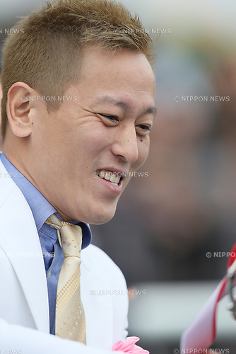 Junichi Davidson,<br /> MARCH 18, 2017 - Horse Racing :<br /> Presenter Junichi Davidson during the victory ceremony after the Chunichi Sports Sho Falcon Stakes at Chukyo Racecourse in Aichi, Japan. (Photo by Eiichi Yamane/AFLO)