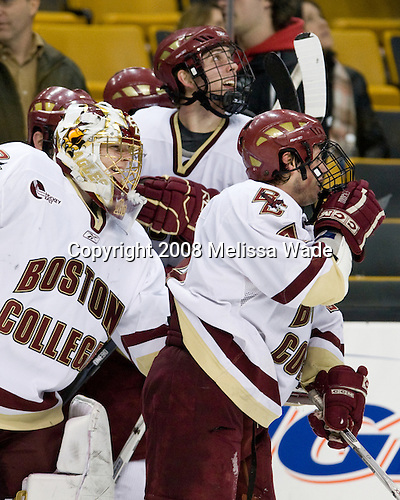 Boston College celebrates the win - John Muse (BC 1), Kyle Kucharski (BC 18), Nate Gerbe (BC 9). The Boston College Eagles defeated the Boston University Terriers 4-3 in overtime in their first Monday Beanpot matchup on February 4, 2008 at the TD Banknorth Garden in Boston, Massachusetts.