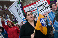 Several public sector trades unions joined together to protest against the British and other European government's austerity measures.  The rally took place at The Bargate, an ancient city gate, in Southampton as part of a European wide day of action organised by the The European Trade Union Confederation (ETUC).??© Paul Carter (reportdigital.co.uk).Tel: 01789-262151/07831-121483  .info@reportdigital.co.uk .www.reportdigital.co.uk .NUJ recommended terms & conditions apply. Moral rights asserted under Copyright Designs & Patents Act 1988. Credit is required. No part of this photo to be stored, reproduced, manipulated or transmitted by any means without permission.