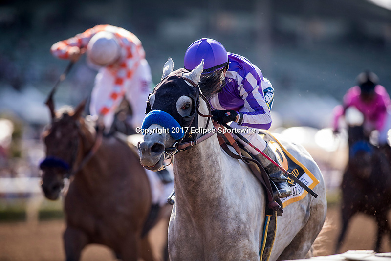 ARCADIA, CA - MAY 27: Cupid #6 ridden by Rafael Bejarano wins the Gold Cup Stakes at Santa Anita Park  on May 27, 2017 in Arcadia, California. (Photo by Alex Evers/Eclipse Sportswire/Getty Images)