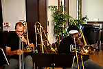 September 14, 2010.  Durham, North Carolina.. FTBB trombone players, Bryan Hooten and Reggie Pace.. Day One of Sounds of the South, a reinterpretation of Alan Lomax's field recordings, with music by Megafaun, Fight the Big Bull, Sharon Van Etten and Justin Vernon of Bon Iver..