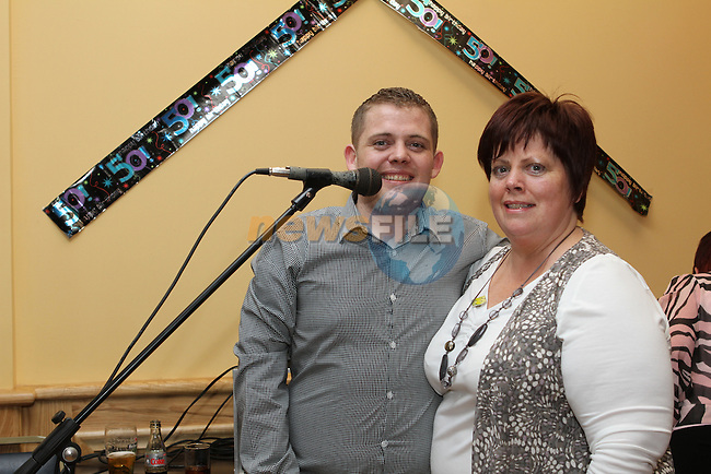 Deirdre Nash celebrates her 50th in the Thatch with her son Darren...(Photo credit should read Jenny Matthews www.newsfile.ie)....This Picture has been sent you under the conditions enclosed by:.Newsfile Ltd..The Studio,.Millmount Abbey,.Drogheda,.Co Meath..Ireland..Tel: +353(0)41-9871240.Fax: +353(0)41-9871260.GSM: +353(0)86-2500958.email: pictures@newsfile.ie.www.newsfile.ie.