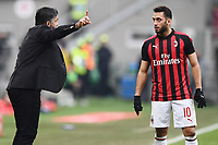 Gennaro Gattuso, coach of AC Milan, gestures with Hakan Calhanoglu of AC Milan during the Serie A 2018/2019 football match between AC Milan and ACF Fiorentina at stadio Giuseppe Meazza in San Siro, Milano, December 22, 2018 <br />  Foto Matteo Gribaudi / Insidefoto