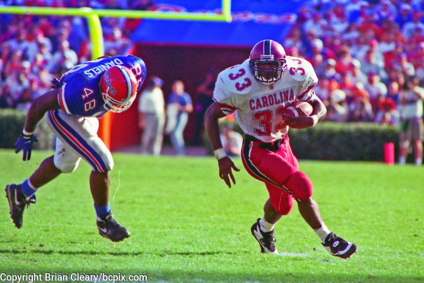 Brandon Bennett (33), Dexter Daniels (48), University of Florida Gators defeat the University of South Carolina Gamecocks 48-17 at Ben Hill Griffin Stadium, Florida Field, Gainseville, Florida, November 12, 1994 . (Photo by Brian Cleary/www.bcpix.com)