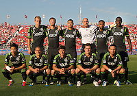 The Seattle Sounders FC starting eleven during an MLS game between the Seattle Sounders FC and the Toronto FC at BMO Field in Toronto on June 18, 2011..The Seattle Sounders FC won 1-0.