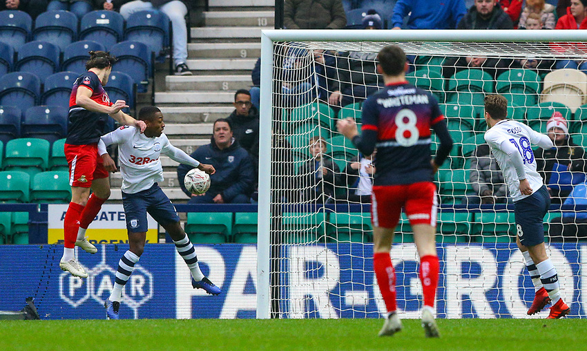 Doncaster Rovers' John Marquis scores the opening goal <br /> <br /> Photographer Alex Dodd/CameraSport<br /> <br /> The Emirates FA Cup Third Round - Preston North End v Doncaster Rovers - Sunday 6th January 2019 - Deepdale Stadium - Preston<br />  <br /> World Copyright © 2019 CameraSport. All rights reserved. 43 Linden Ave. Countesthorpe. Leicester. England. LE8 5PG - Tel: +44 (0) 116 277 4147 - admin@camerasport.com - www.camerasport.com