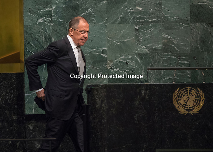 72 General Debate – 20 September <br /> <br /> Sergey Lavrov  Russian FM , on his way to give his speech to GA 72