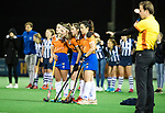 BLOEMENDAAL  - Hockey -  finale KNHB Gold Cup dames, Bloemendaal-HDM . Bloemendaal wint na shoot outs. Pili Romang (Bldaal) , Kiki Rozemeijer., Pien Tol (Bldaal) en Anna OFlanagan (Bldaal)   COPYRIGHT KOEN SUYK