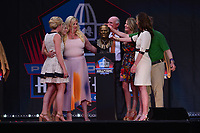 Canton, Ohio - August 3, 2019: Pat Bowlen's family unveils his bust at the Tom Benson Hall of Fame Stadium in Canton, Ohio August 3, 2019 after his induction into the Pro Football Hall of Fame.  (Photo by Don Baxter/Media Images International)