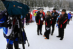 Tv crew in action during the FIS Ski World Cup Men' 15 Km Individual Classic, on February 1, 2014 in Dobbiaco, Toblach. <br /> <br /> &copy; Pierre Teyssot