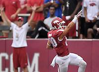 NWA Democrat-Gazette/BEN GOFF @NWABENGOFF<br /> Drew Morton, Arkansas wide receiver, scores in the first quarter on Saturday Sept. 5, 2015 during the Arkansas vs UTEP game at Razorback Stadium in Fayetteville.