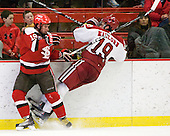 Jeremy Wick (St. Lawrence - 19), Alex Killorn (Harvard - 19) - The Harvard University Crimson defeated the St. Lawrence University Saints 4-3 on senior night Saturday, February 26, 2011, at Bright Hockey Center in Cambridge, Massachusetts.