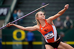 EUGENE, OR - JUNE 10: Kara Hallock of Oregon State University competes in the javelin as part of the Heptathlon during the Division I Women's Outdoor Track & Field Championship held at Hayward Field on June 10, 2017 in Eugene, Oregon. (Photo by Jamie Schwaberow/NCAA Photos via Getty Images)