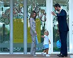 Los Principes de Asturias llevan a su hija la Infanta Dona Sofia a la. Escuela Infantil de la Guardia Real en El Pardo.