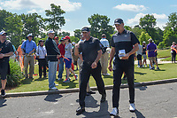 Ryan Palmer (USA) and Jordan Spieth (USA) make their way to 3 during Round 1 of the Zurich Classic of New Orl, TPC Louisiana, Avondale, Louisiana, USA. 4/26/2018.<br /> Picture: Golffile | Ken Murray<br /> <br /> <br /> All photo usage must carry mandatory copyright credit (&copy; Golffile | Ken Murray)