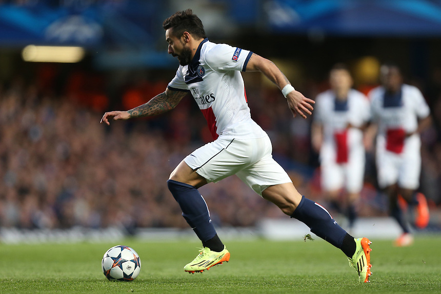Paris St Germain's Ezequiel Lavezzi in action <br /> <br /> Photo by Kieran Galvin/CameraSport<br /> <br /> Football - UEFA Champions League Quarter Final Second Leg - Chelsea v Paris St Germain - Tuesday 8th April 2014 - Stamford Bridge - London<br /> <br /> &copy; CameraSport - 43 Linden Ave. Countesthorpe. Leicester. England. LE8 5PG - Tel: +44 (0) 116 277 4147 - admin@camerasport.com - www.camerasport.com