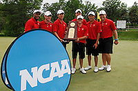 2 June 2007: The Stanford men's golf team wins the NCAA Division I Men's Golf Championship held at the Golden Horseshoe Golf Club, Gold Course in Williamsburg, VA.  (L to R) are: Sam Puryear - Assistant Coach, Rob Grube, Zack Miller, Joseph Bramlett, Matt Savage (with trophy) Daniel Lim and coach Conrad Ray. <br />