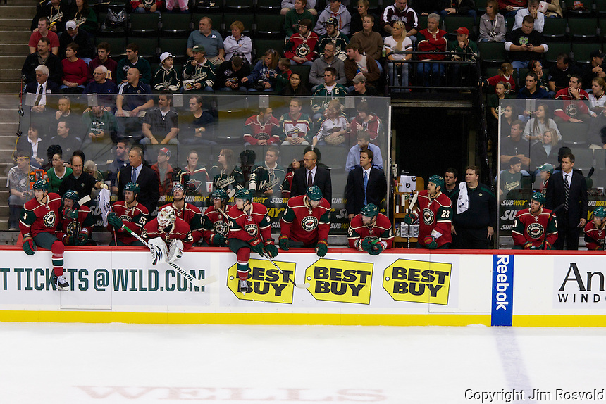 27 Sep 11: The Minnesota Wild takes on the St. Louis Blues in a pre-season game at the Xcel Energy Center in St. Paul, MN.