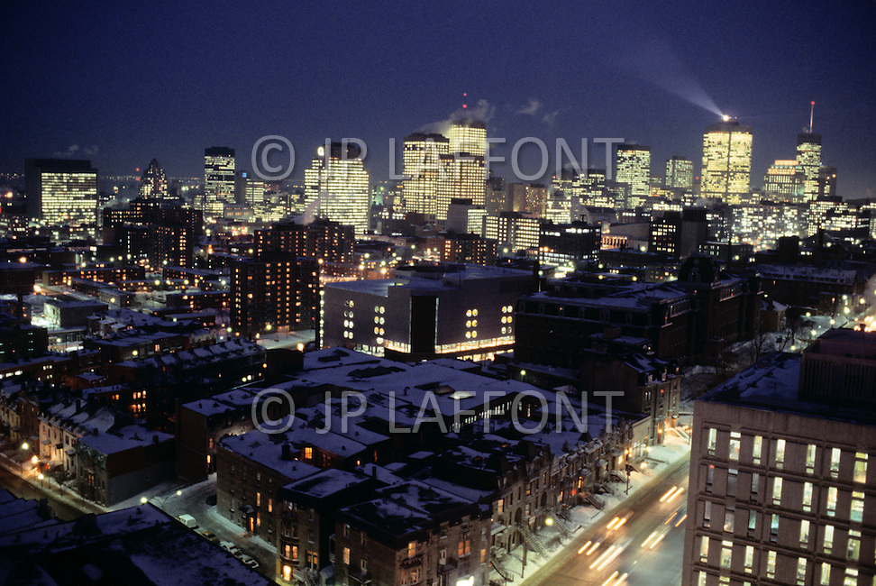 Montreal, Canada, March 1978. Night view of the city in Winter.