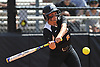 Lauren Sandelier #6 of Adelphi strokes a game-tying triple in the top of the fifth inning of Game 2 of the NCAA Division II East Super Regional against Southern New Hampshire University at Adelphi University on Thursday, May 12, 2016. Adelphi plated three more runs in the frame and went to win 4-1 to sweep the best-of-three series.