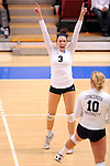 03 DEC 2011:  Kayla Koenecke (3) of Concordia University St. Paul celebrates a point against Cal State San Bernardino during the Division II Women's Volleyball Championship held at Coussoulis Arena on the Cal State San Bernardino campus in San Bernardino, Ca. Concordia St. Paul defeated Cal State San Bernardino 3-0 to win the national title. Matt Brown/ NCAA Photos