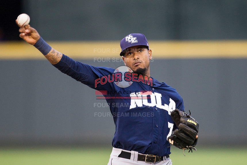 New Orleans Zephyrs second baseman Jordany Valdespin (7) warms up before the Pacific Coast League baseball game against the Round Rock Express on May 27, 2014 at the Dell Diamond in Round Rock, Texas. The Zephyrs defeated the Express 9-0 in a rain shortened game. (Andrew Woolley/Four Seam Images)