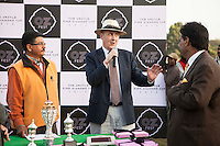 Dr Lachlan Strahan of the Australian High Commission gives a quick speech after the Argyle Pink Diamond Cup, organised as part of the 2013 Oz Fest in the Rajasthan Polo Club grounds in Jaipur, Rajasthan, India on 10th January 2013. Photo by Suzanne Lee