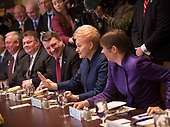 President Dalia Grybauskaite of Lithuania(2nd right) participates in a meeting with President Kersti Kaljulaid of Estonia(r), President Raimonds Vejonis of Latvia(2nd r) and United States President Donald Trump at The White House in Washington, DC, April 3, 2018. <br /> Credit: Chris Kleponis / Pool via CNP