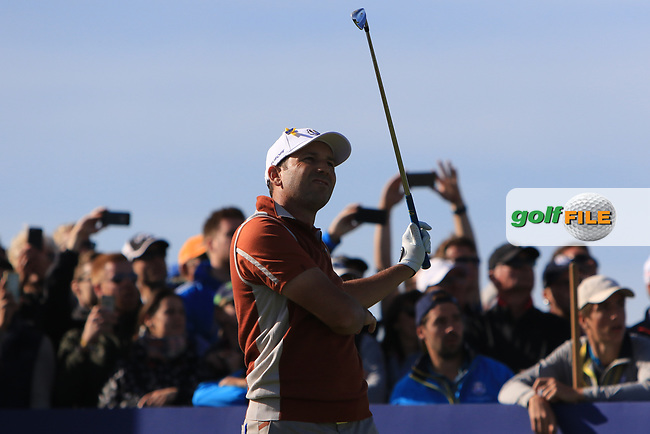 Sergio Garcia (Team Europe) on the 11th tee during Saturday Foursomes at the Ryder Cup, Le Golf National, Ile-de-France, France. 29/09/2018.<br /> Picture Thos Caffrey / Golffile.ie<br /> <br /> All photo usage must carry mandatory copyright credit (© Golffile   Thos Caffrey)