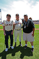 SAN FRANCISCO - JUNE 11:  San Francisco Giants Legends Randy Moffitt and John Montefusco pose with photographer Brad Mangin on San Francisco Giants Legends day before an MLB baseball game between the Cincinnati Reds and the San Francisco Giants on Satuday, June 11, 2011 at AT&T Park in San Francisco, California. Photo by Michael Zagaris
