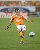 Houston Dynamo midfielder Richard Mulrooney (30) passes the ball. The Houston Dynamo tied the Columbus Crew 1-1 in a regular season MLS match at Robertson Stadium in Houston, TX on August 25, 2007.