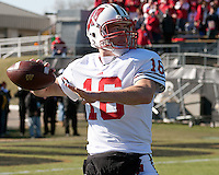 Wisconsin quarterback Scott Tolzien. The Wisconsin Badgers defeated the Purdue Boilermakers 34-13 at Ross-Ade Stadium, West Lafayette, Indiana on November 6, 2010.