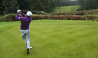 Graeme McDowell of Northern Ireland tees off during a Pro-Am round ahead of the 2015 British Masters at the Marquess Course, Woburn, in Bedfordshire, England on 7/10/15.<br /> Picture: Richard Martin-Roberts   Golffile