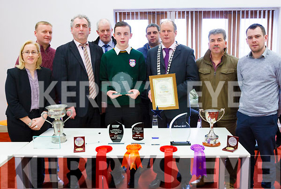 Killorglin Student Jack Nagle was honoured by the South and West Municipal District this week for his invention the tractor lock to save lives on farms.<br /> Front left to right Cllr Norma Moriarty, Cllr Michael Cahill, Jack Nagle, Mayor of South and West, Seamus Cosai Fitzgerald, Cllr Mike O'Shea and Cllr John Francis Flynn. <br /> Back left tor right Cllr Damian Quigg, Cllr Dan McCarthy, and Cllr Johnny Healy Rae.