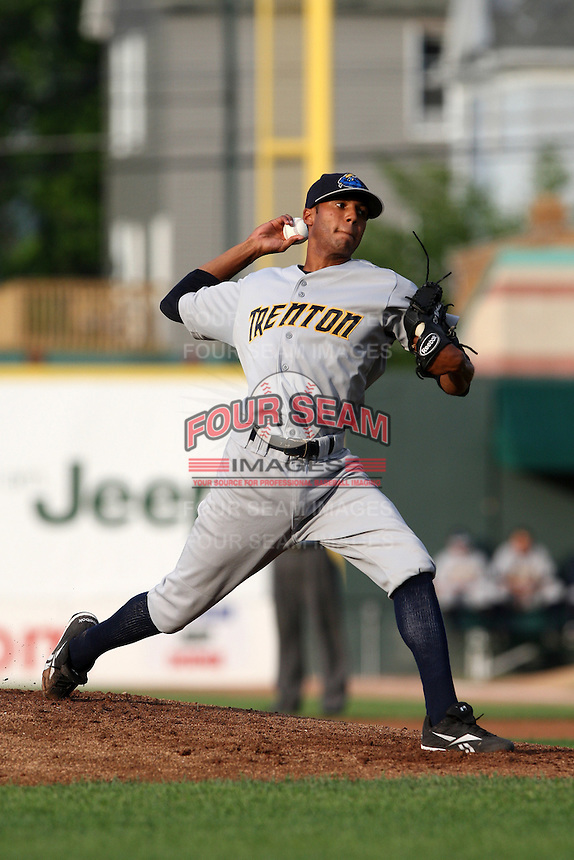 Trenton Thunder Starting Pitcher D.J. Mitchell (14) during a game vs. the Erie Seawolves at Jerry Uht Park in Erie, Pennsylvania;  June 23, 2010.   Trenton defeated Erie 12-7  Photo By Mike Janes/Four Seam Images