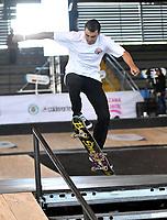 BOGOTA - COLOMBIA - 13 - 08 - 2017: Cristian Huerta, Skater de Mexico, durante competencia en el Primer Campeonato Panamericano de Skateboarding, que se realiza en el Palacio de los Deportes en la Ciudad de Bogota. / Cristian Huerta, Skater from Mexico, during a competitions in the First Pan American Championship of Skateboarding, that takes place in the Palace of Sports in the City of Bogota. Photo: VizzorImage / Luis Ramirez / Staff.