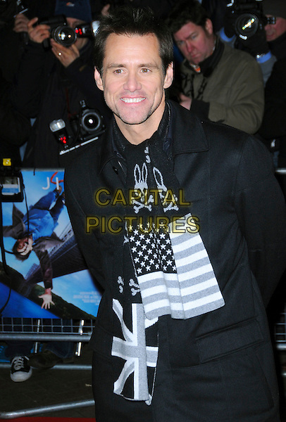 "JIM CARREY .World Premiere of ""Yes Man"" at the Vue Cinema, Leicester Square, London, England, December 9th 2008..half length  black coat scarf rabbit bunny skull and crossbones union jack patterned stars stripes .CAP/CAS.©Bob Cass/Capital Pictures"
