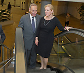 United States Senators Kirsten Gillibrand (Democrat of New York), right, and Chuck Schumer (Democrat of New York), left, ride an escalator from the Senate Subway to another meeting with Governor Andrew Cuomo (Democrat of New York) during the Governor's visit to Capitol Hill for a series of meetings with Congressional Leadership on Monday, December 3, 2012..Credit: Ron Sachs / CNP.(RESTRICTION: NO New York or New Jersey Newspapers or newspapers within a 75 mile radius of New York City)