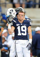 Sept. 19, 2009; Provo, UT, USA; BYU Cougars wide receiver (19) Matt Marshall against the Florida State Seminoles at LaVell Edwards Stadium. Mandatory Credit: Mark J. Rebilas-.