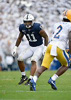 UNIVERSITY PARK, PA - SEPTEMBER 14: Penn State LB Micah Parsons (11) drops into pass coverage during the Pittsburgh Panthers (Pitt) vs. Penn State Nittany Lions September 14, 2019 at Beaver Stadium in University Park, PA. (Photo by Randy Litzinger/Icon Sportswire)